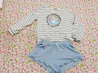 🚚 二手-Pazzo 愛麗絲夢遊仙境上衣+短褲套裝