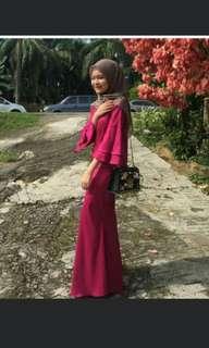 Baju Kurung Classy Red with Flared Sleeve #July70