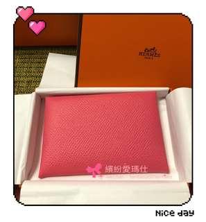 全新Hermes Calvi card holder  8W Rose Azalee 🎀 Epsom Leather  $2xxx Full set with shop copy receipt  Please inbox 📩 for more details ❤️ Thanks😘
