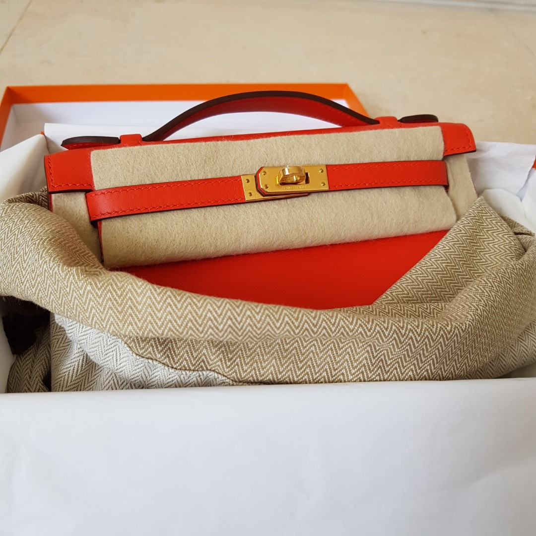 85ecc5c572cb BEST DEAL! NEW HERMES KELLY POCHETTE CAPUCINE SWIFT GHW