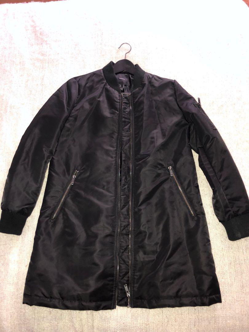 BLACK TOPSHOP LONG BOMBER