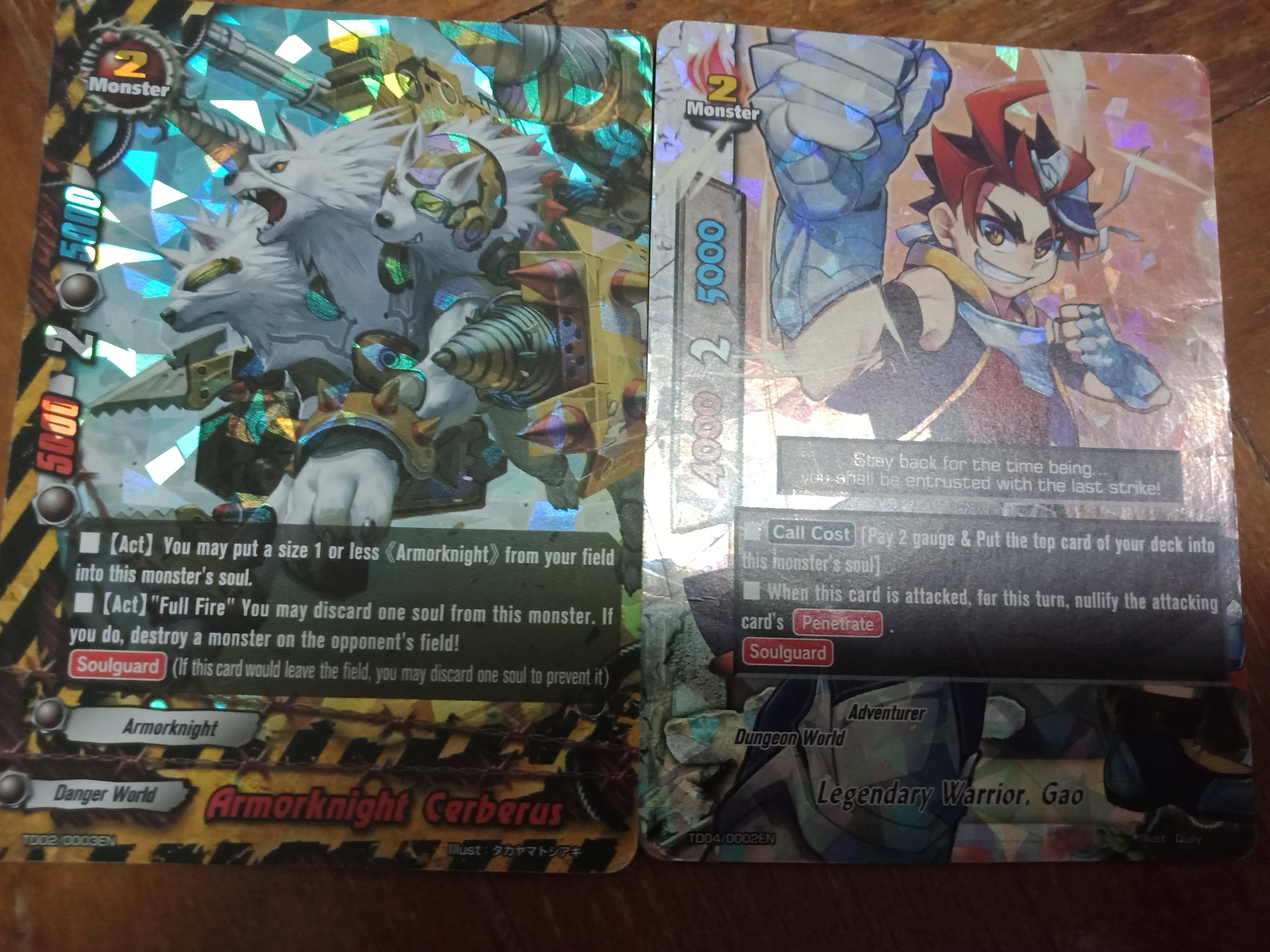 Buddyfight classic to cards tge shinny ones only these 2