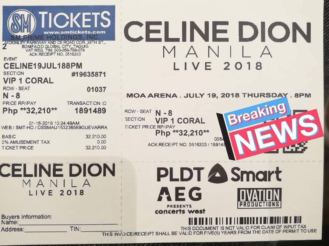 Celine Dion Tickets Svip And Vip 50k Pack Tickets Vouchers