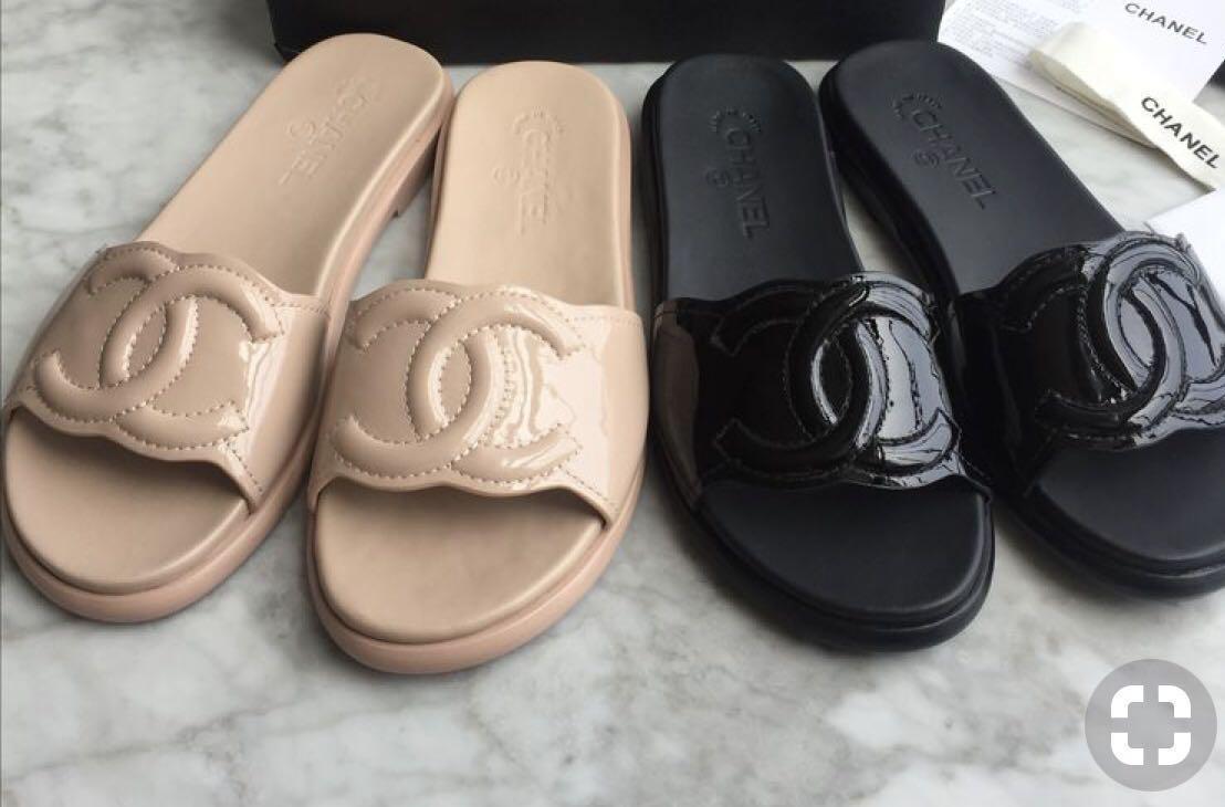 Chanel Black Patent Leather slipper