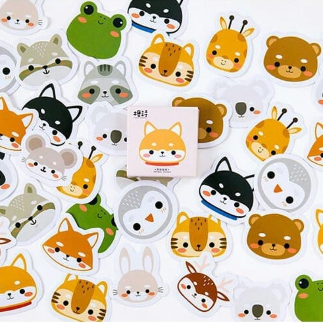 Cute Chibi Animals Mini Sticker Set 45pcs Books Stationery