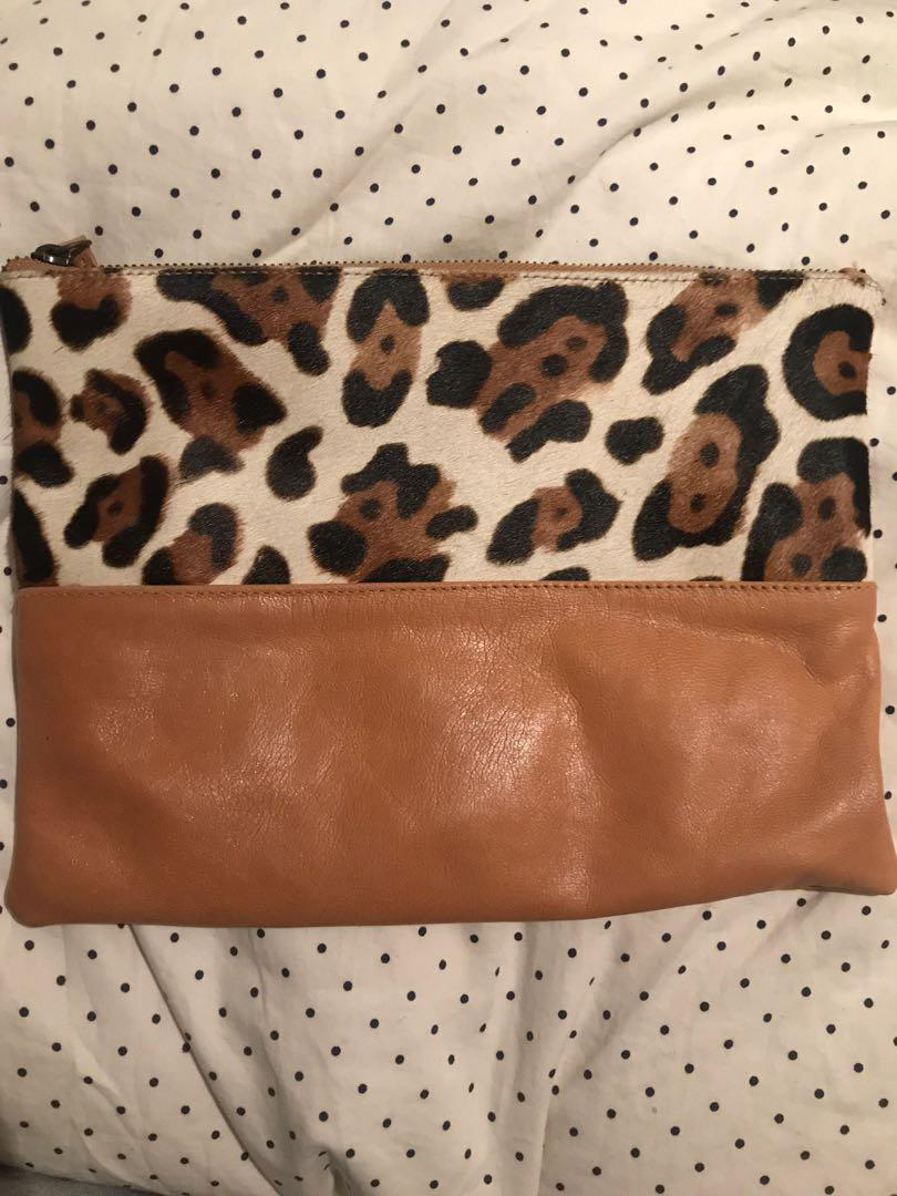 Faux Fur / Leather Clutch