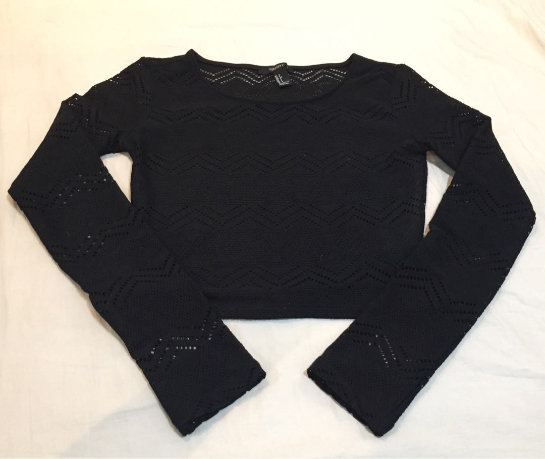 1a63ad047bc874 Forever 21 Long Sleeved Crop Top