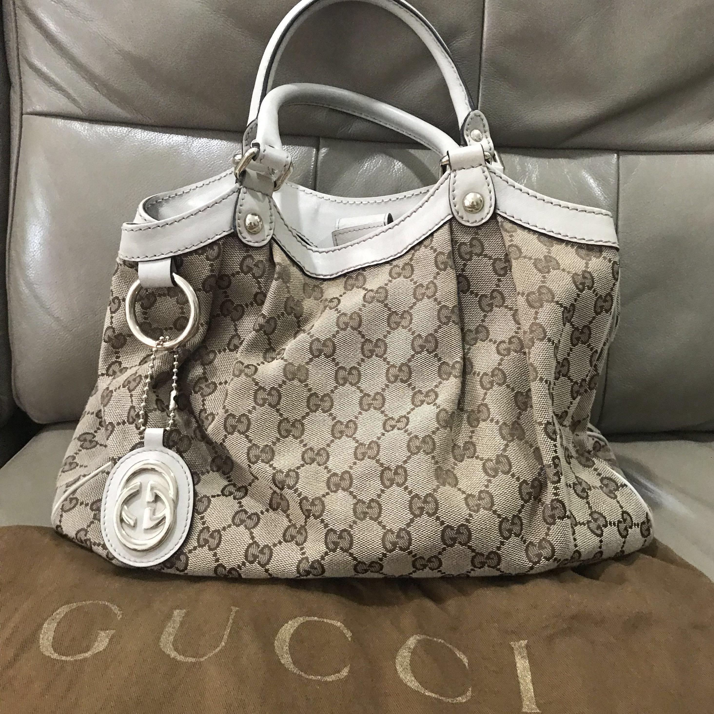 49f758490b0149 Gucci Sukey Medium Beige leather handbag, Luxury, Bags & Wallets ...