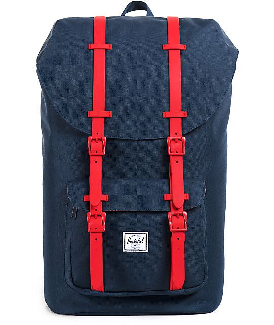 cfb5e4851f4 Instock  Herschel Little America Backpack 25L - Navy Red Rubber ...