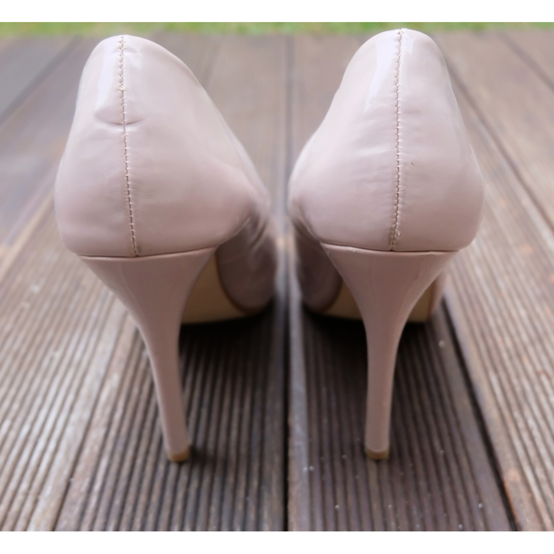 5387479698 Next Patent Peep Toe Heels in Pink Nude size 38, Women's Fashion, Women's  Shoes on Carousell