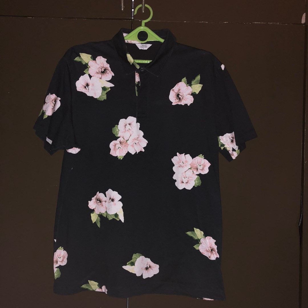 Pre-loved Next Clothing Navy Floral Polo Shirt