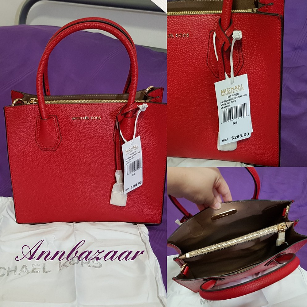 3651463d59af Michael Kors Mercer Medium- Bright Red (100% Authentic), Women's Fashion,  Bags & Wallets, Handbags on Carousell