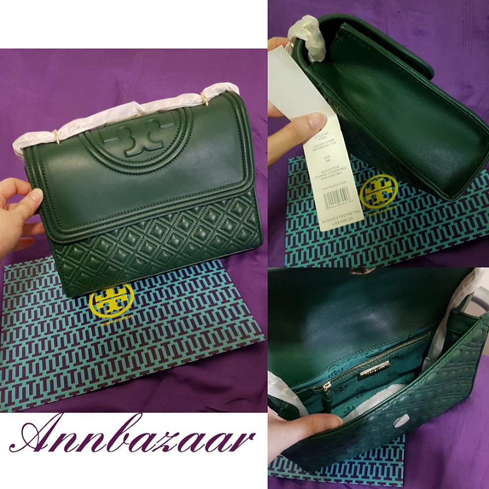 e2fcf7a34a3 SPECIAL OFFER! Large Tory Burch Fleming Crossbody- Green (100 ...