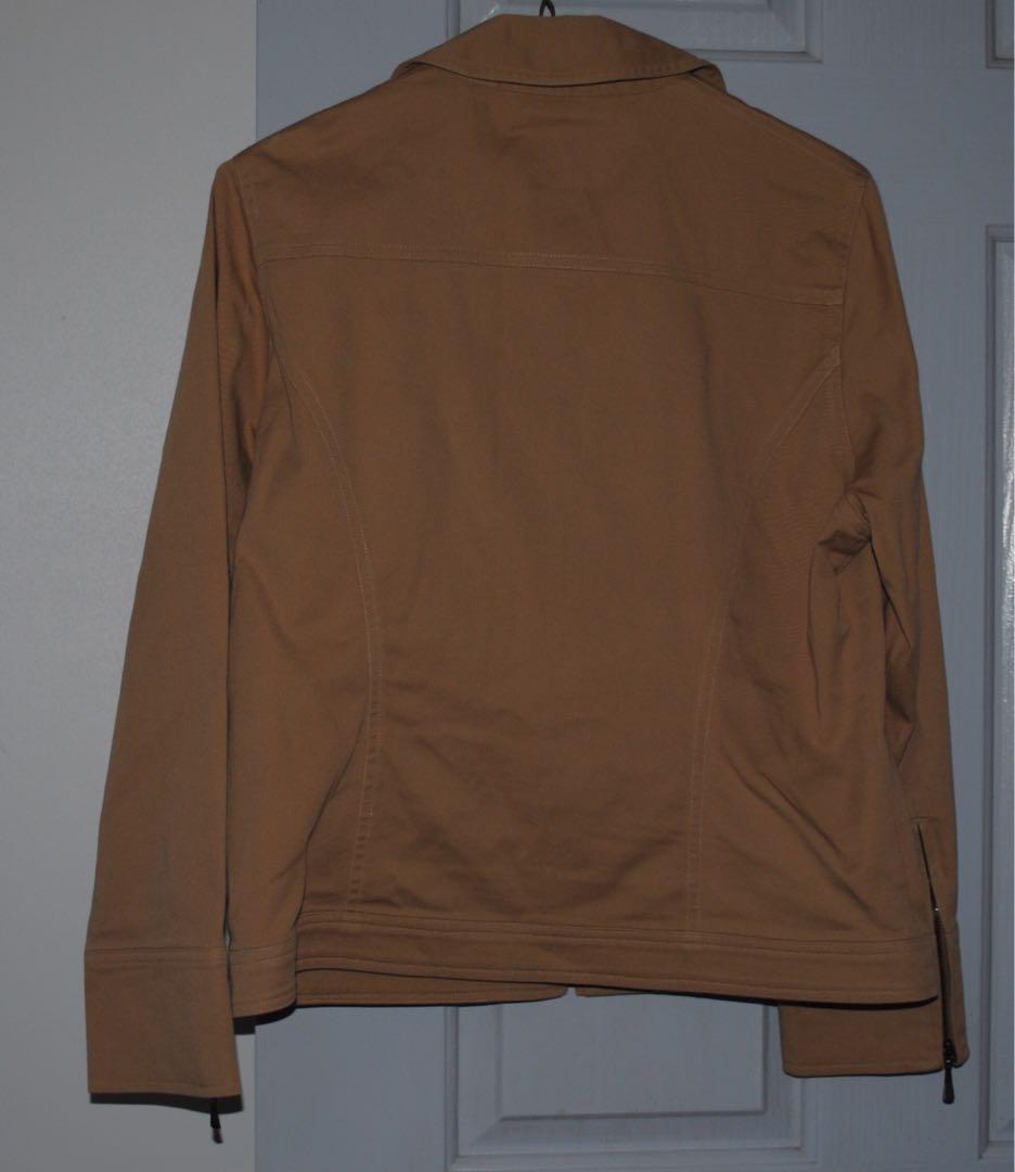 Tan Cropped Jacked - Stitches Petite Size 12 EUC