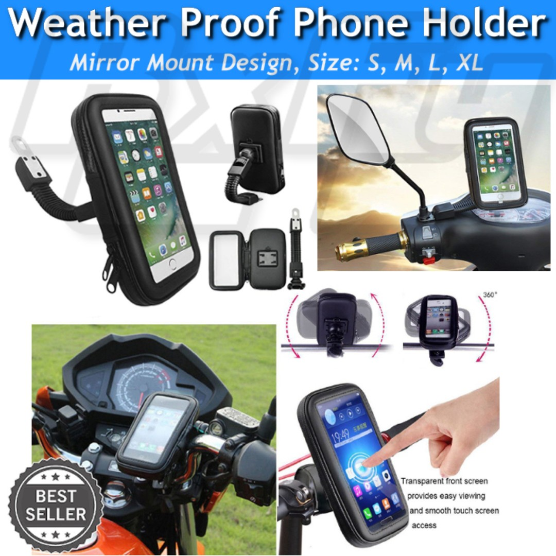 huge selection of f5a9d 8c63d Universal Waterproof Case Bag Motorcycle Bike Mirror Mount 360 Mobile Phone  Holder Bracket iphone scooter escooter ebike samsung