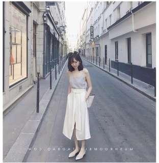 🚚 ✨全新✨開叉綁帶中長裙  白色M號