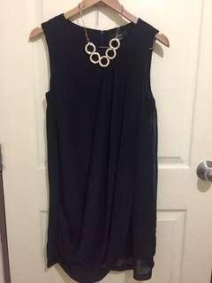 Black Chiffon Sleeveless Dress