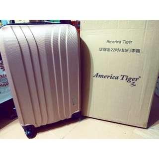 超值優惠,全新【AMERICA TIGER】玫瑰金 ABS行李箱(22吋)