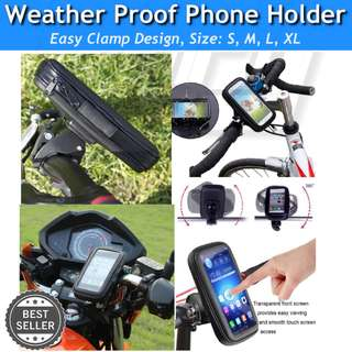 Waterproof 360° Bike Scooter Bicycle ebike escooter Stem Mount Phone Holder Case Pouch Bracket *Clamp Gripper Vise* escooter iphone gps handphone