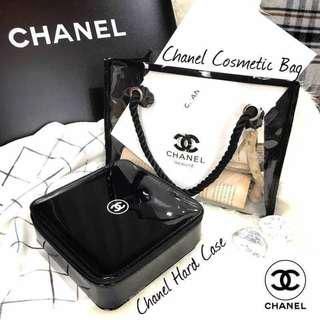 fbad57f5b097 Chanel vip beauty clear transparent cosmetics bag and chanel hard case  square with zip