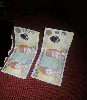 Uang 100.000 Polymer(plastik) Soekarno-Hatta ASLI thn 1999