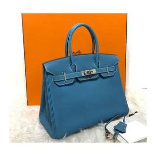 Authentic Hermes Birkin 30 Blue Jean