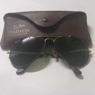 Vintage gold leather aviator rayban