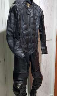 Black leather 1pcs racing suit