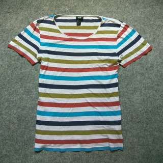Kaos H&M Colors Stripe Tee Size