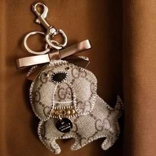 *BRAND NEW* GUCCI GG Canvas Agnese Guccioli Bulldog Keychain Charm