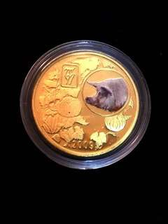 2009 North Korea 20 Won The Chinese Almanac Year of the Pig Coloured Brass Coin Proof Struck. Uncirculated Mint Condition. Very Scarce mintages.