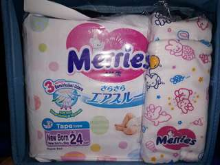 Merries Diapers NB (NewBorn) 24S Free Merries Pouch tali serut