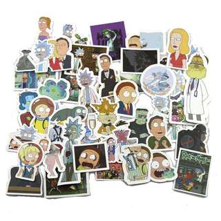 50pcs Rick and Morty Waterproof Luggage Stickers