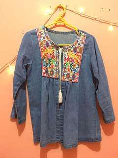 Cardigan wanita jeans embroidery bordir