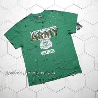 (价格私询)Amiri 阿米里18SS 绿色Vintage风海盗船长破坏tee短袖