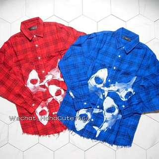 (价格私询)全网独家 AMIRI 18SS 红/蓝两色鲨鱼衬衫