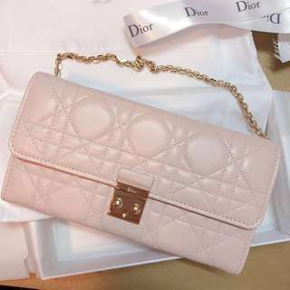 MISS DIOR Rrendez Wallet On Chain in Rose Poudre Lambskin