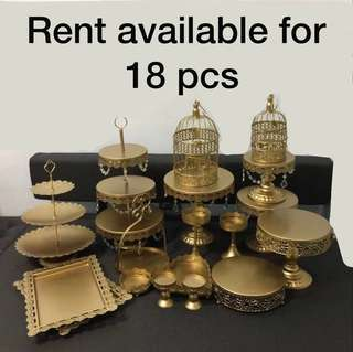 [RENT] Gold birthday party cake stand