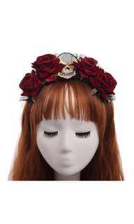 Steampunk Skull Hair Band (Punk Dead Rose Flower Crown)