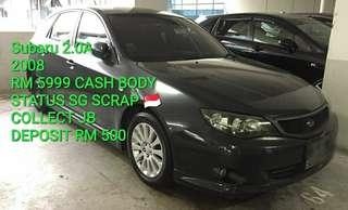 Subaru 2.0A  2008 RM 5999 CASH BODY STATUS SG SCRAP 🇸🇬 COLLECT JB DEPOSIT RM 500