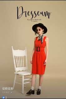 Dresseum 購入-想吃火雞大餐|附腰帶紅洋裝-L