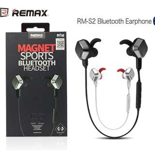 Remax Magnet RB-S2 Bluetooth Stereo Headset Earpiece Headphone with Mic Black