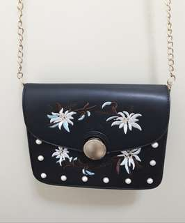 ZALORA Black Shoulder Bag with Embroidery Details and Chain Strap