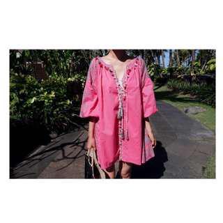 🚚 韓國 波希米亞洋裝 粉色