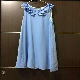 🚚 PAZZO波浪領無袖洋裝