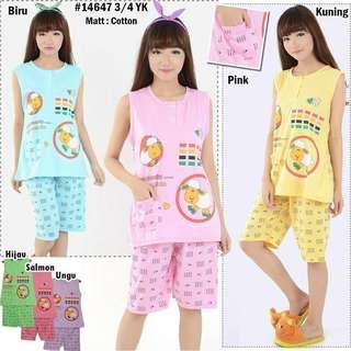 NEW San Lie 14647 3/4 YK Stelan Baju Tidur Atasan Tanpa Lengan dan Celana Pendek (Updated 18/07/18)