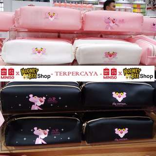 Japan Quality Miniso - Pencil Case Tempat Pensil Pink Panther Import
