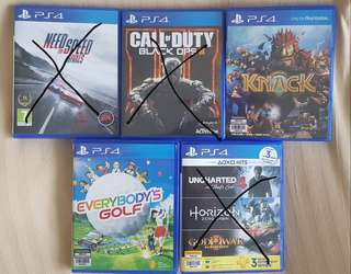 PS4 Call of Duty, Need for Speed, Knack