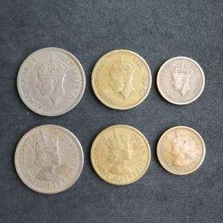 香港早期硬幣50¢,10¢,5¢, 英皇頭及女皇頭各一套, 共6個
