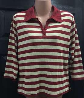 👚Pre-loved Stripes 3/4s Polo-shirt